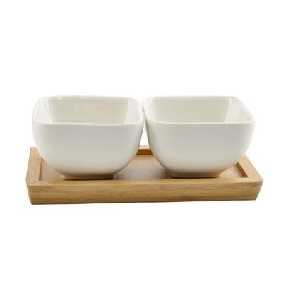 miska porcelán 2ks+dřev.tácek
