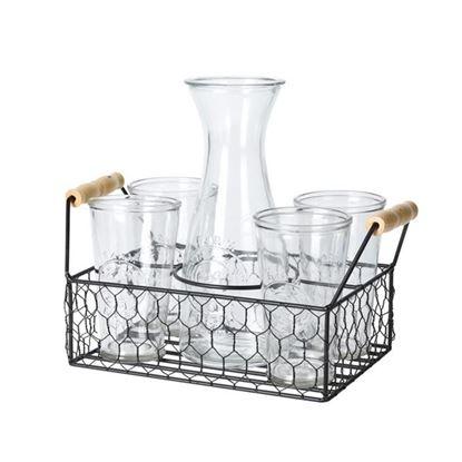 karafa sklo1L+sklenice 0,5L 4ks
