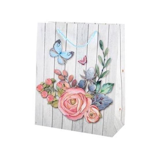 taška dárková 32x26 Dřevo-Květina
