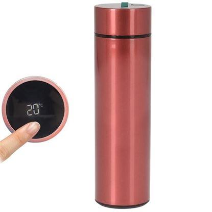 termoska nerez 0,45 L s teploměrem červená